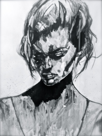 Down, acrylique et stylo sur papier, disponible aussi avec Art Rookie
