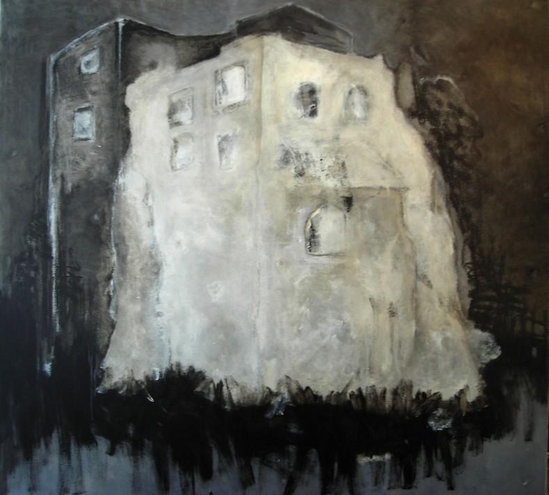 Eglise abandonnée, 100x100, disponible également sur Art Lover