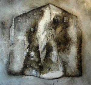 Eglise abandonnée, 100x100cm, disponible également sur Art Lover