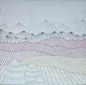 Hiver, 100x100cm, acrylique et laine brodée sur toile
