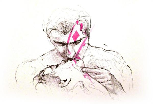 Marlon, Le baiser, stylo et aquarelle sur papier, 29x42cm. Prix: 220 €