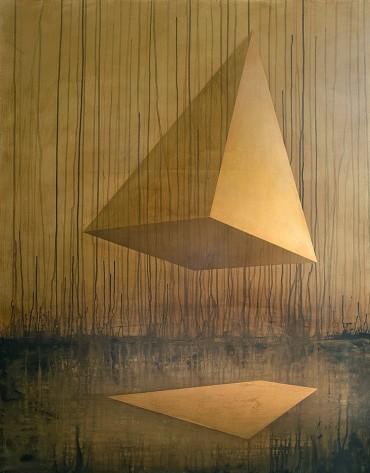 Sans titre, acrylique et feuille d'or sur toile, 147x114cm