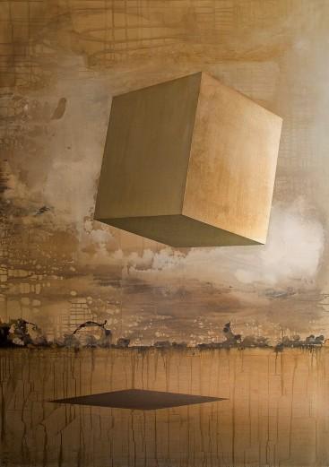Sans titre, acrylique et feuille d'or sur toile, 163x114cm. Egalement disponible avec Art Addict