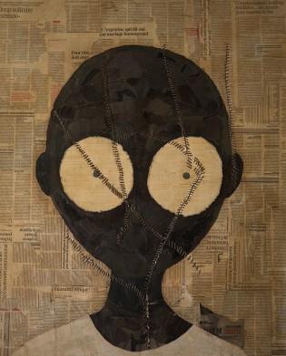 Sans titre, collage sur toile et ficelle cousue, 100x80cm