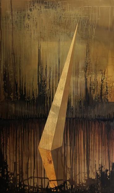 Sans titre, acrylique et feuille d'or sur toile, 160x86cm