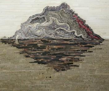 Sans titre, papier sur bois, 60x80cm