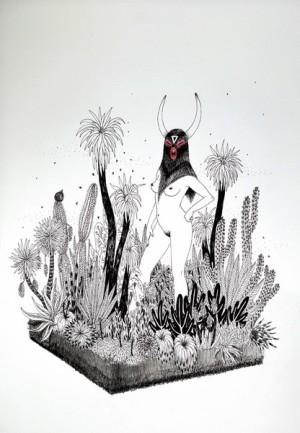 Agave, encre de Chine sur papier Arches, 26x36cm