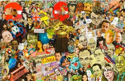 L'encyclopédie des cons, collage sur canson, 65x100cm