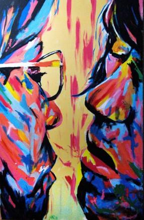 Red Kiss, 60x92cm, acrylique sur toile, également disponible avec Art Rookie