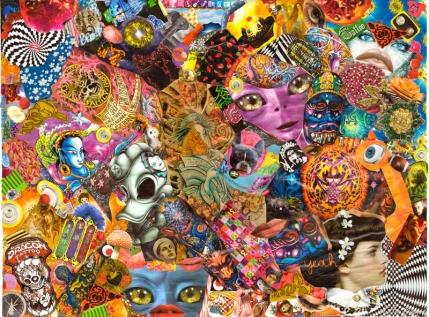 Psykedemi, collage sur toile de lin, 45x60cm