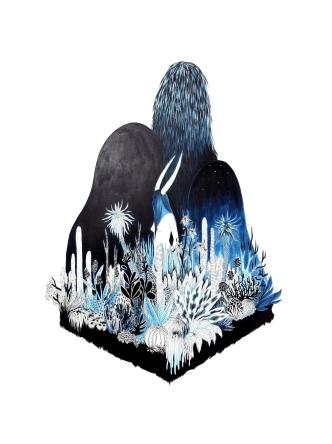 Voile de nuit, encre de Chine et acrylique sur papier Arches, 46x61cm