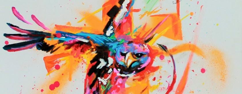"""Marlon, """"When eagle dare"""", acrylique sur toile, détail"""