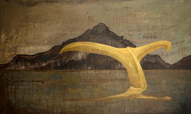 """Benoit Mauduech, Sans titre, série """"La règle d'or"""", acrylique et feuille d'or sur toile, 89x146cm"""