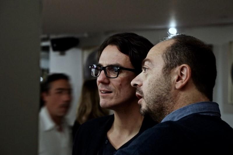 Yannick Revel (Get Arty) avec l'artiste Fabien Cayere (à gauche). © Benjamin Deshayes